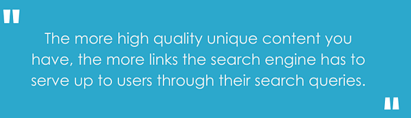 The more high quality unique content you have, the more links the search engine has to serve up to users through their search queries.""