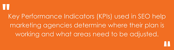 """""""Key performance Indicators (KPIs) used in SEO help marketing agencies determine where their plan is working and what areas need to be adjusted."""""""